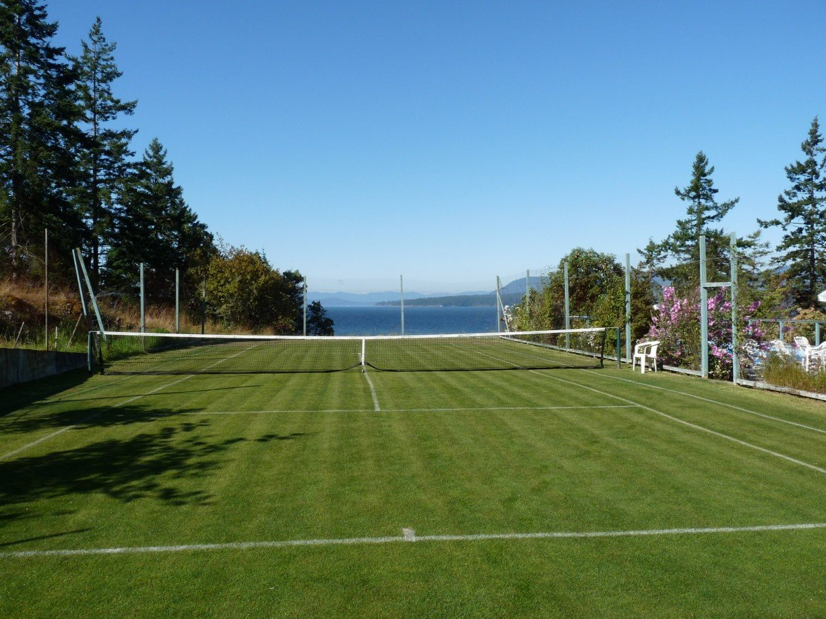 Arcadia by the Sea-Grass Tennis Court-Pender Island-BC